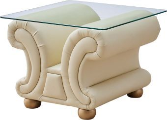 ✅ Apolo Ivory Italian Leather End Table by ESF | VivaSalotti.com | pic1