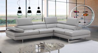✅ A761 Italian Leather Sectional Light Grey In Right Hand Facing | VivaSalotti.com | pic