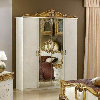 ✅ Barocco 4 Door Wardrobe Ivory and Gold by ESF | VivaSalotti.com | pic2