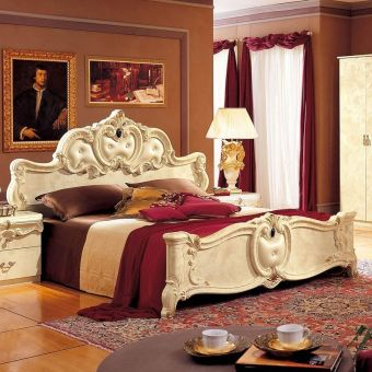 ✅ Barocco Panel Queen Bed Ivory by ESF | VivaSalotti.com | pic3