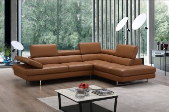 ✅ A761 Italian Leather Sectional Caramel In Right Hand Facing Chaise | VivaSalotti.com | pic