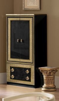 ✅ Aida Classic Two Door Wardrobe by ESF, Black and Gold | VivaSalotti.com | pic7