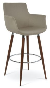 Bottega Arm Ana Camira Era Fabric Bar Stool, Beige