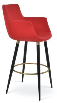 Bottega Arm Ana Camira Era Fabric Bar Stool, Red
