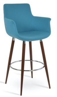 Bottega Arm Ana Camira Blazer Wool Bar Stool, Turquoise