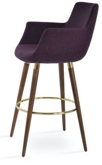 Bottega Arm Ana Camira Blazer Wool Bar Stool, New Deep Maroon