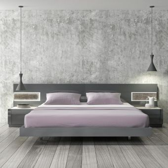 Braga Premium LED Queen Size Platform Bed, Grey Lacquer