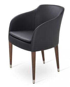 Buca Leatherette Dining Chair w/Wood Base, Black