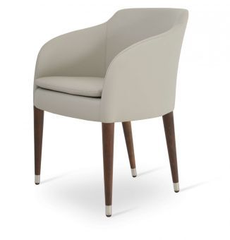 Buca Leatherette Dining Chair w/Wood Base, Light Grey