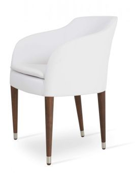 Buca Leatherette Dining Chair w/Wood Base, White