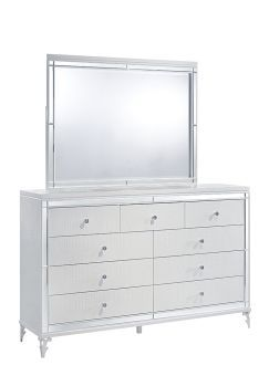 Catalina Metallic White Mirror
