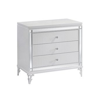 Catalina Metallic White Nightstand