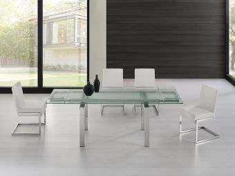 ✅ FROSTY dining table in clear glass with polished stainless steel base. | VivaSalotti.com | pic
