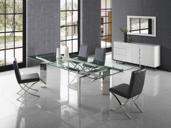 ✅ EUPHORIA dining table in clear glass with polished stainless steel base. | VivaSalotti.com | pic1