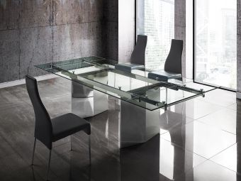 ✅ TOWER dining table in clear glass with polished stainless steel base. | VivaSalotti.com | pic
