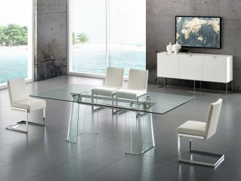 ✅ BLAKE dining table in clear glass with polished stainless steel base. | VivaSalotti.com | pic