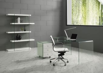 RIO Office Desk in Clear Glass with High Gloss White Lacquer Movable Drawers