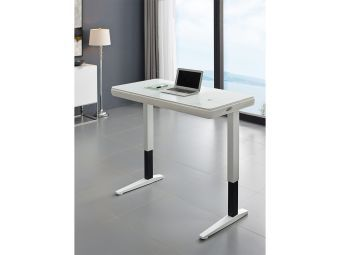 GENIE Office Desk in High Gloss White Lacquer with Smart White Glass Top