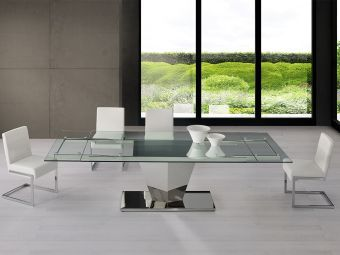 ✅ DIAMOND dining table in clear glass with polished stainless steel base. | VivaSalotti.com | pic