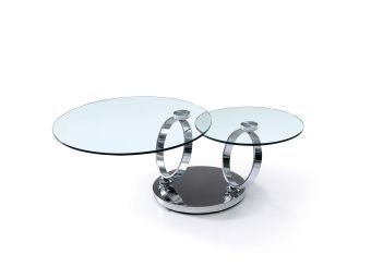 SATELLITE Coffee Table in High Polished Stainless Steel Base