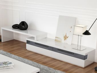 ✅ EASY entertainment center in high gloss white lacquer with smoked glass. | VivaSalotti.com | pic