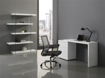 NEST Office Desk in High Gloss White Lacquer