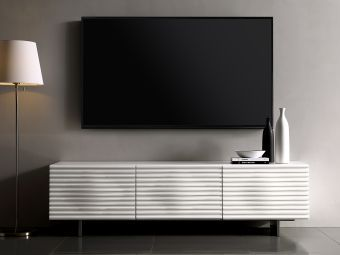 ✅ MOON entertainment center in high gloss white lacquer with brushed stainless steel. | VivaSalotti.com | pic