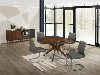 GEO Dining Chair in Dark Gray Leather