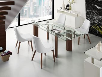 ✅ TORINO Extendable Walnut Veneer w Tempered Glass Dining Table by Casabianca Home | VivaSalotti.com | pic
