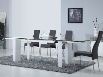 ✅ TORINO dining table in clear glass with high gloss white lacquer base. | VivaSalotti.com | pic
