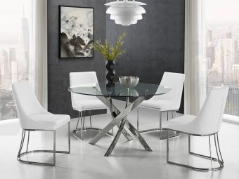 ✅ CREEK dining chair in white pu-leather with stainless steel base.   VivaSalotti.com   pic