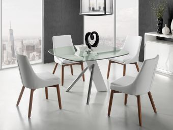✅ CREEK White Eco-Leather Walnut Legs Dining Chair by Casabianca Home | VivaSalotti.com | pic1