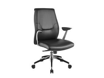 ✅ ARENA Arm Office Chair in Black Leather w Chrome Plated Base | VivaSalotti.com | pic1
