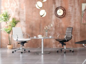 HORIZON Arm Office in White PU-leather