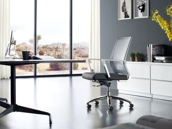 JET Arm Office Chair in Light Gray Polyester Mesh and Black Frame
