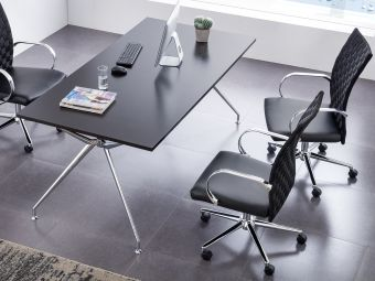 ✅ CUBES Arm Office Chair in Black PU-leather and Weave Backrest w Chrome Plated Base | VivaSalotti.com | pic