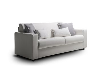 RESERVE Queen Size Sofa Bed in White Top Grain PU-leather and Black Feet