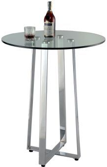 Chambers Contemporary Glass Top Counter Table w/ X-Shaped Base