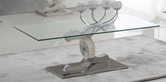 151 Modern Clear Glass Coffee Table w Chrome Legs