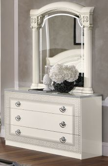 ✅ Aida Classic Single Dresser by ESF, White and Silver | VivaSalotti.com | pic