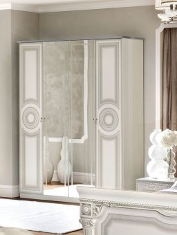✅ Aida Classic Four Door Wardrobe by ESF, White and Silver | VivaSalotti.com | pic1
