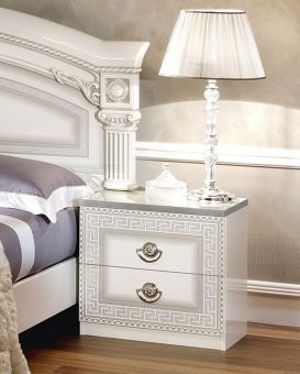 ✅ Aida Classic Nightstand by ESF, White and Silver | VivaSalotti.com | pic