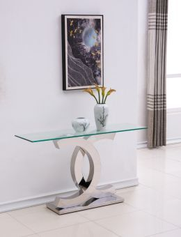 151 Modern Clear Glass Console Table w Chrome Legs