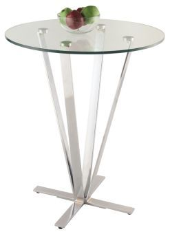 Cortland Contemporary Glass Counter Table w/ X-Shaped Base