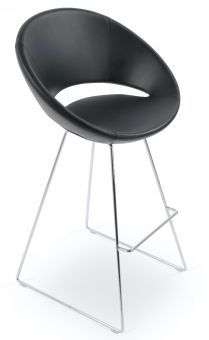 Crescent Wire Polyurethane-Polyester Microfiber Bar Stool, Black