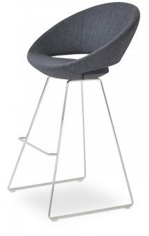 Crescent Wire Camira Blazer Wool Bar Stool, Dark Grey