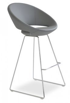 Crescent Wire Polyurethane-Polyester Microfiber Bar Stool, Grey