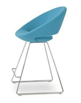 Crescent Wire Camira Blazer Wool Counter Stool w/Metal Base, Turquoise