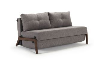 Cubed 02 Dark Wood Deluxe Full Sofa, 521 Mixed Dance Grey