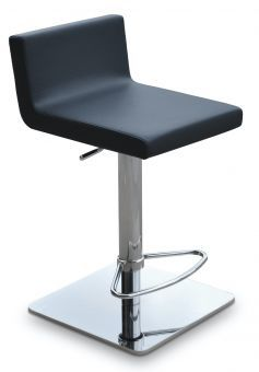 Dallas Leatherette Piston Square Base Steel Stool, Black